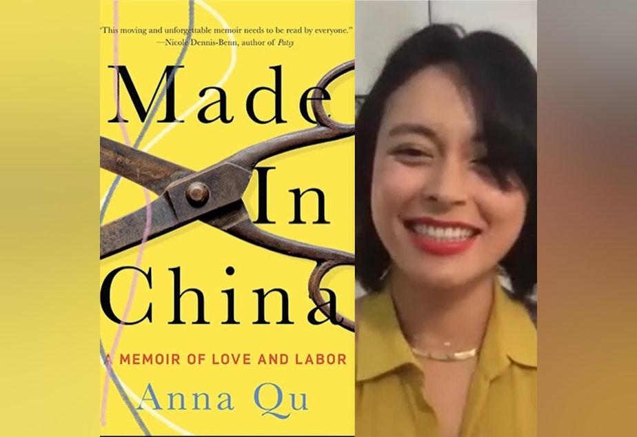 caption: Author 'Anna Qu'  During Elliot Bay Book Company Event & Book cover