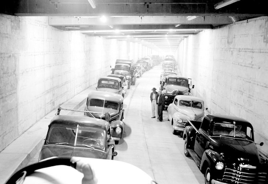 caption: The Battery Street Tunnel in downtown Seattle in 1954 during a carbon monoxide test. The tunnel will come down this year with the Alaskan Way Viaduct.