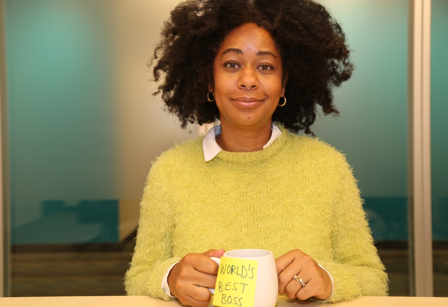 """caption: Eula Scott Bynoe, co-host of Battle Tactics for Your Sexist Workplace,  doing her best impression of Michael Scott from """"The Office."""""""