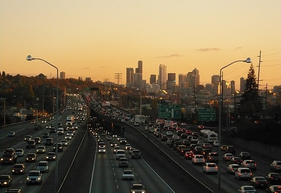 caption: At least there's a beautiful sunset to look at when you're stuck in Seattle traffic.