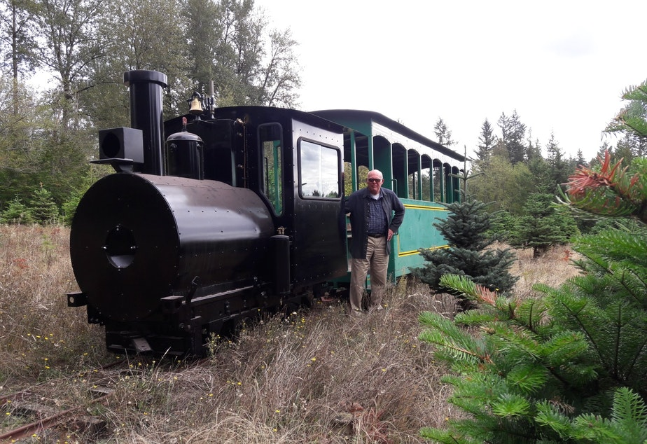 Harvey Hawken built a working locomotive at Crystal Creek Tree Farm, in part, to save money on roads. After 18 years of work, he's finally ready to haul customers and their trees around his farm this year.