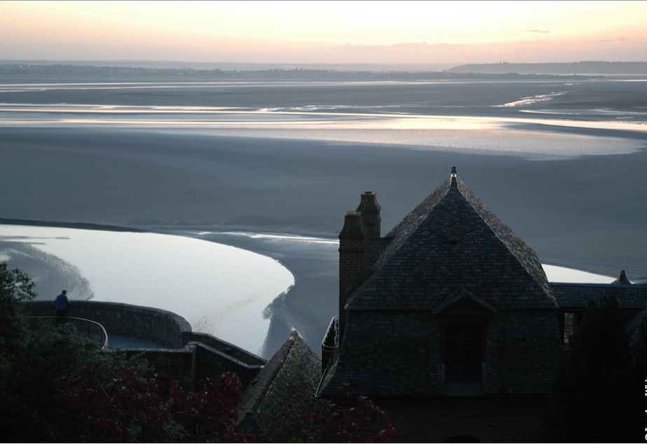 Monastery at Mont St. Michel, France, low tide