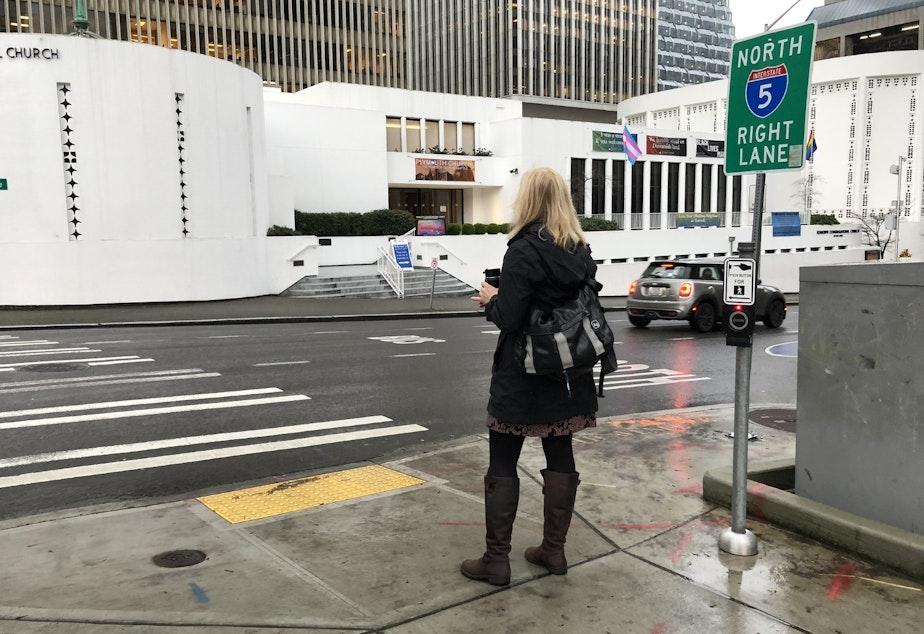 caption: Liz MacGahan on her morning walk commute.