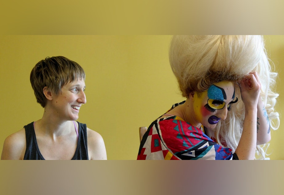 Jody Kuehner, left, without her makeup, and Jody Kuehner as Cherdonna, right, with her makeup.