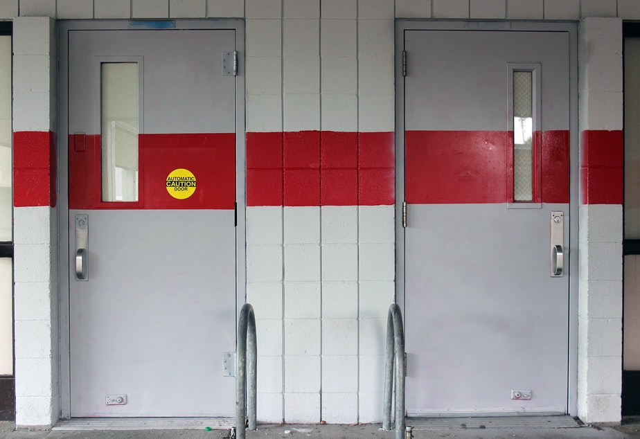 caption: The doors to the cafeteria at Marysville-Pilchuck High School, where a freshman killed four of his friends and wounded a fifth. He then killed himself. The school has grappled with many questions since the shooting, including where to eat.
