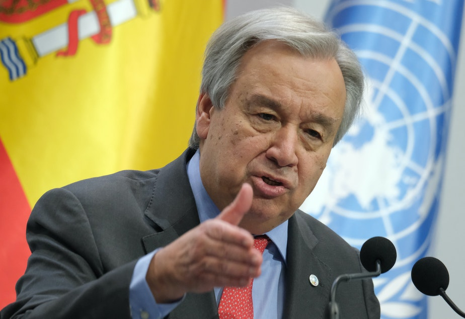 caption: United Nations Secretary-General António Guterres at the opening day of the COP25 climate conference on Monday in Madrid.