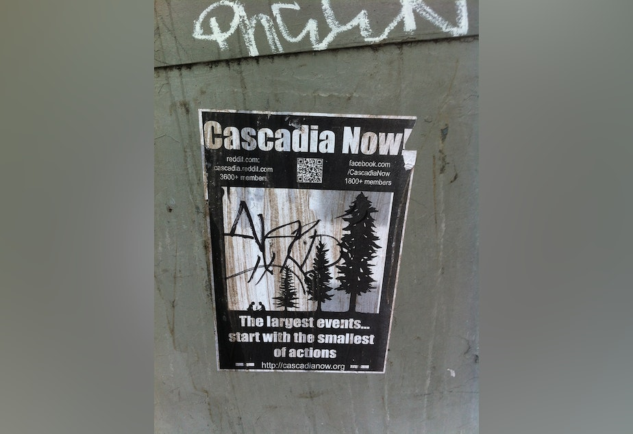 A poster for Cascadia Now! hung in Seattle.