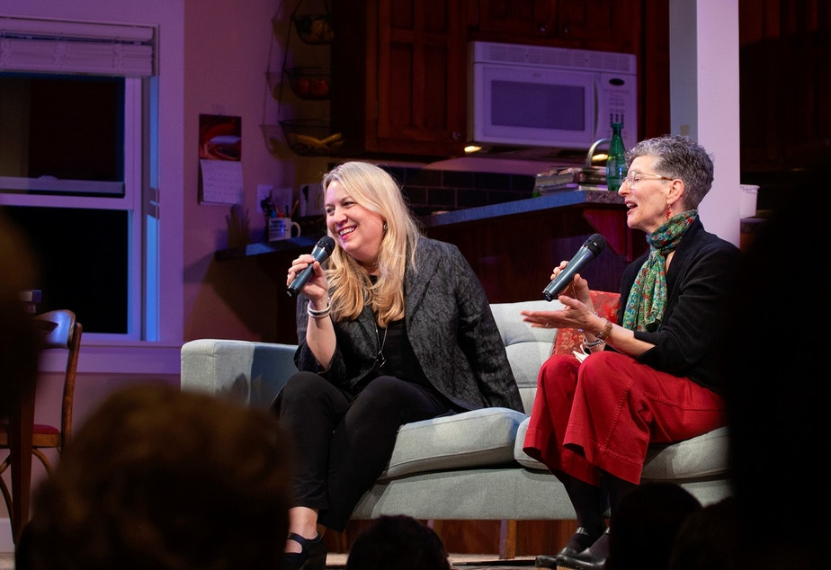 caption: Cheryl Strayed and Marcie Sillman at Seattle Rep