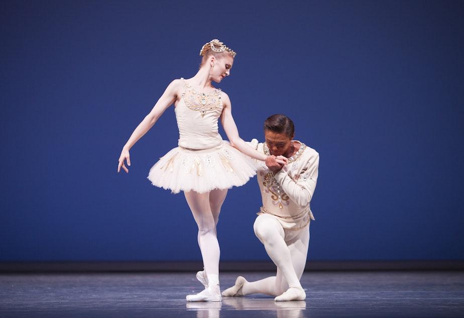 "Pacific Northwest Ballet principal dancers Carla Korbes and Batkhurel Bold in George Balanchine's ""Diamonds."""
