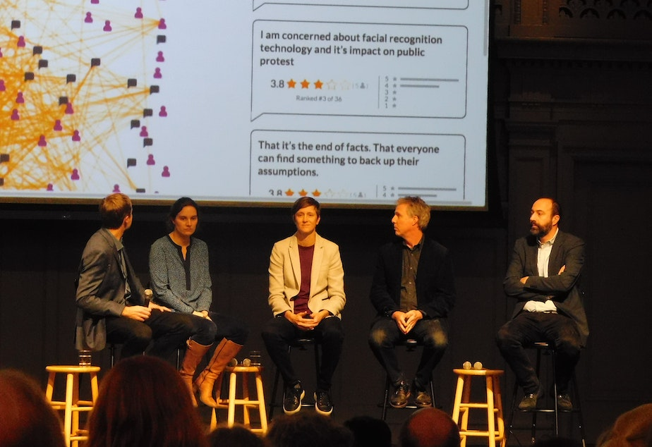 caption: Information Trust panel participants at Town Hall Seattle