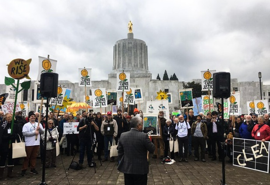 caption: <p>Hundreds of people protest in favor of cap-and-trade legislation at the Oregon Capitol in Salem, Oregon, Wednesday, Feb. 6, 2019. The bill&nbsp;aims to limit carbon emissions.</p>