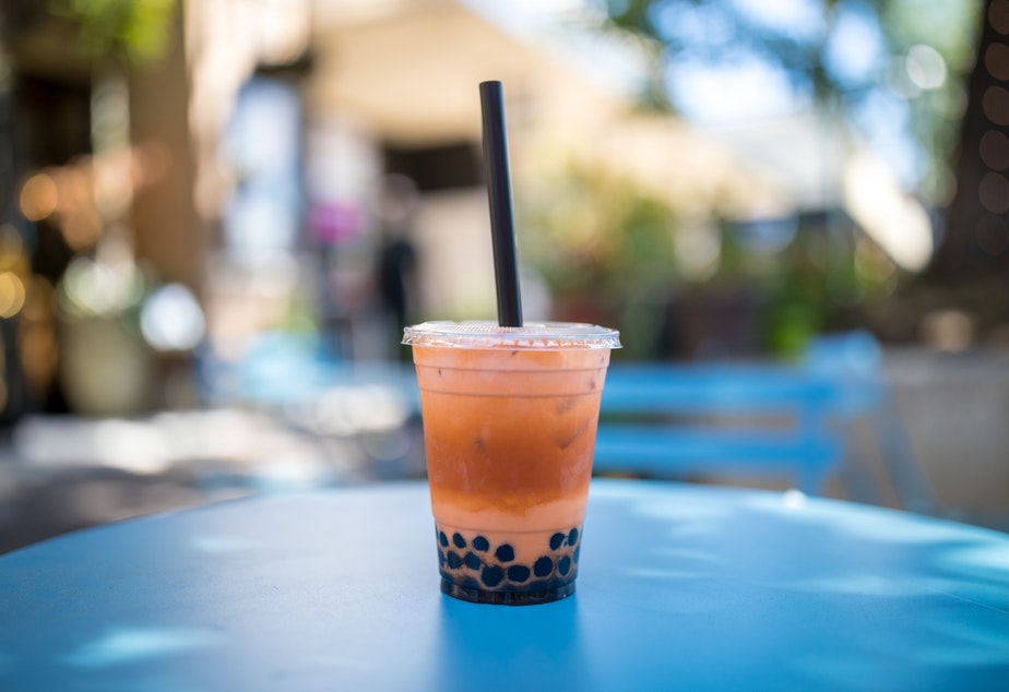 A boba tea order with milk and tapioca pearls