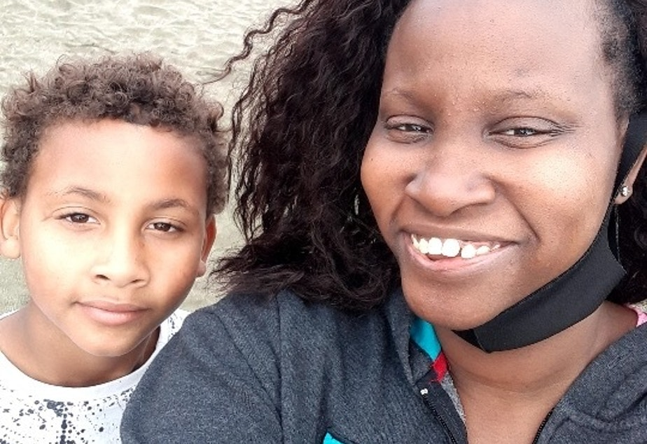 caption: Jaleel and Janelle Williams,  identified here by their middle names, pose for a self-portrait.