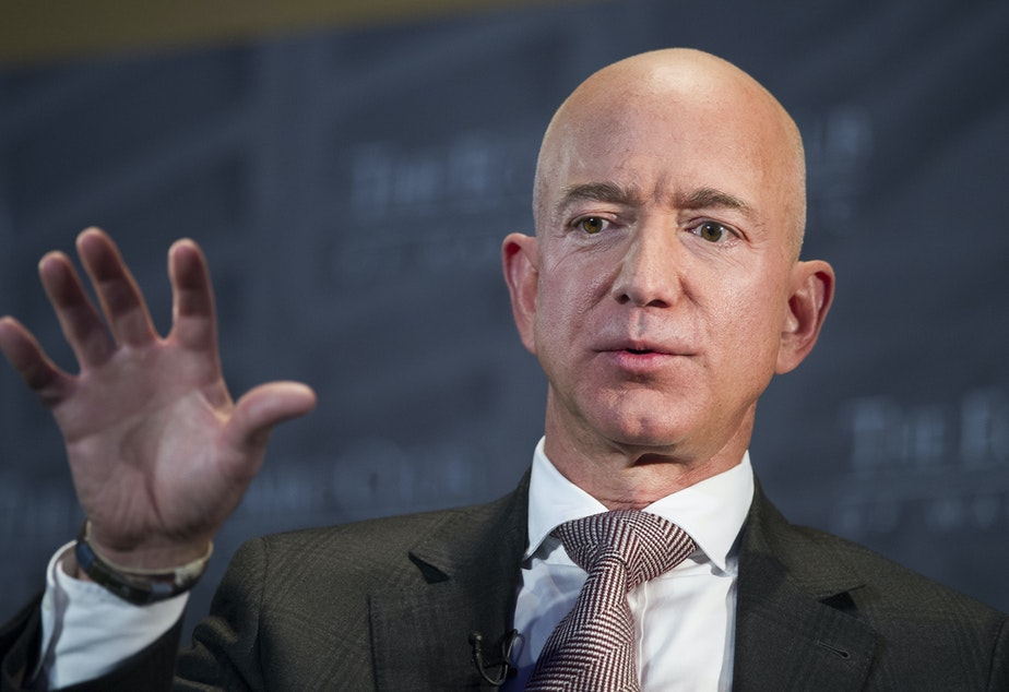 caption: FILE- In this Sept. 13, 2018, file photo Jeff Bezos, Amazon founder and CEO, speaks at The Economic Club of Washington's Milestone Celebration in Washington.