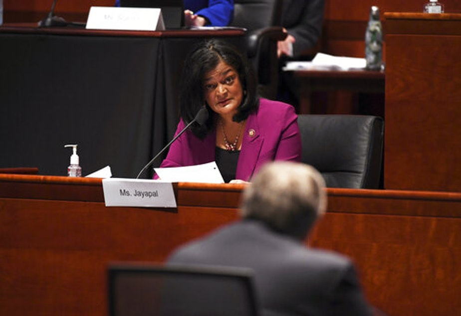 caption: Rep. Pramila Jayapal, D-Wash., questions Attorney General William Barr during a House Judiciary Committee hearing on the oversight of the Department of Justice on Capitol Hill, Tuesday, July 28, 2020 in Washington.