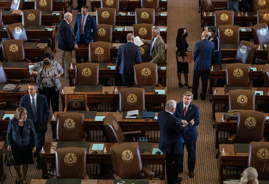 caption: Texas lawmakers face a tight schedule as they consider a bill that would enshrine Gov. Greg Abbott's ban on vaccine mandates into state law. The legislature is currently in its third special session, which expires next week.