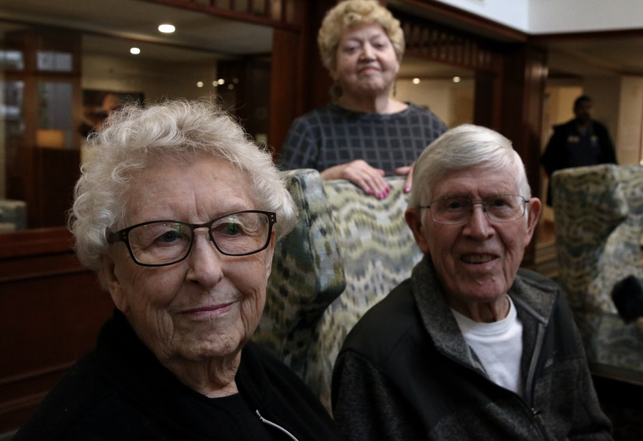 caption: The Lakeshore retirement community members: 89 year old Janie Cromwell (L), 75 year old Kathie Harris (C), and 95 year old Leonard Root (R)