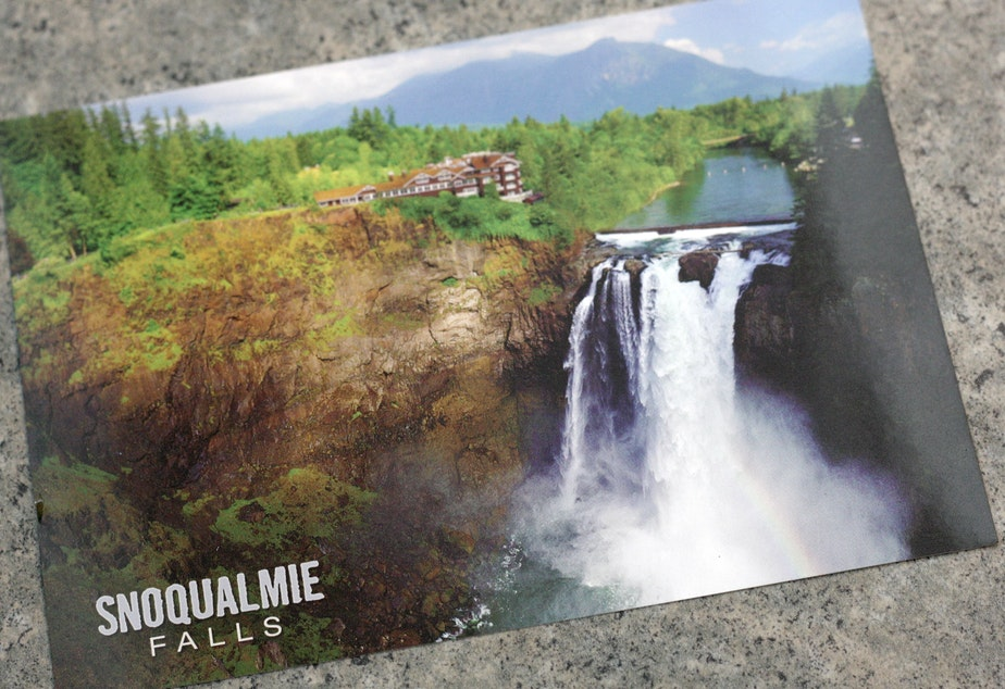 A postcard of Snoqualmie Falls, from the nearby gift shop