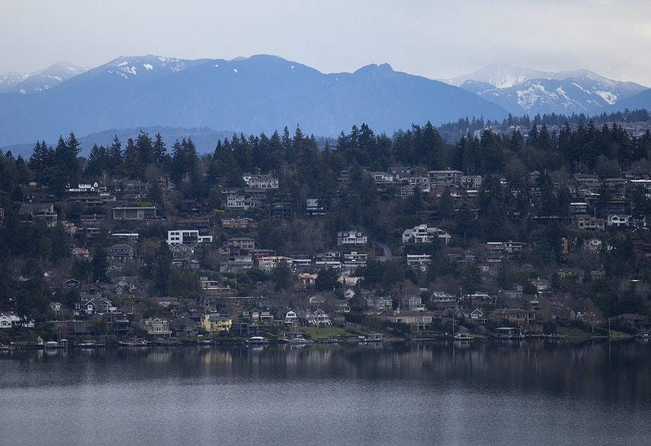 caption: Homes on Mercer Island are shown on Thursday, January 17, 2019, in Seattle.