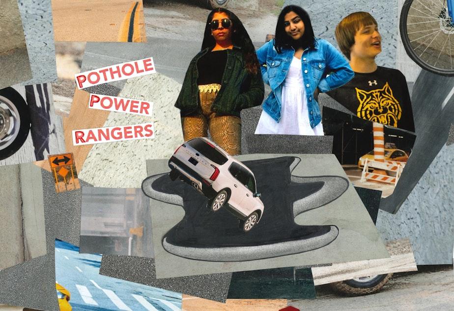 caption: RadioActive's Huma Ali, Ritika Managuli and Michael Sheeran hate potholes and wonder why Seattle has so many of them.