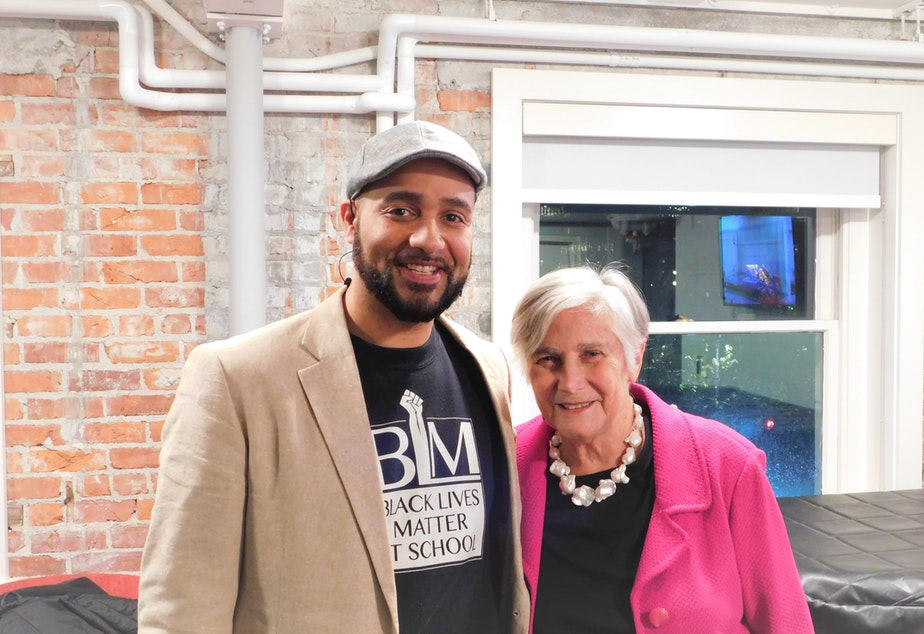 caption: Jesse Hagopian and Diane Ravitch at Town Hall Seattle