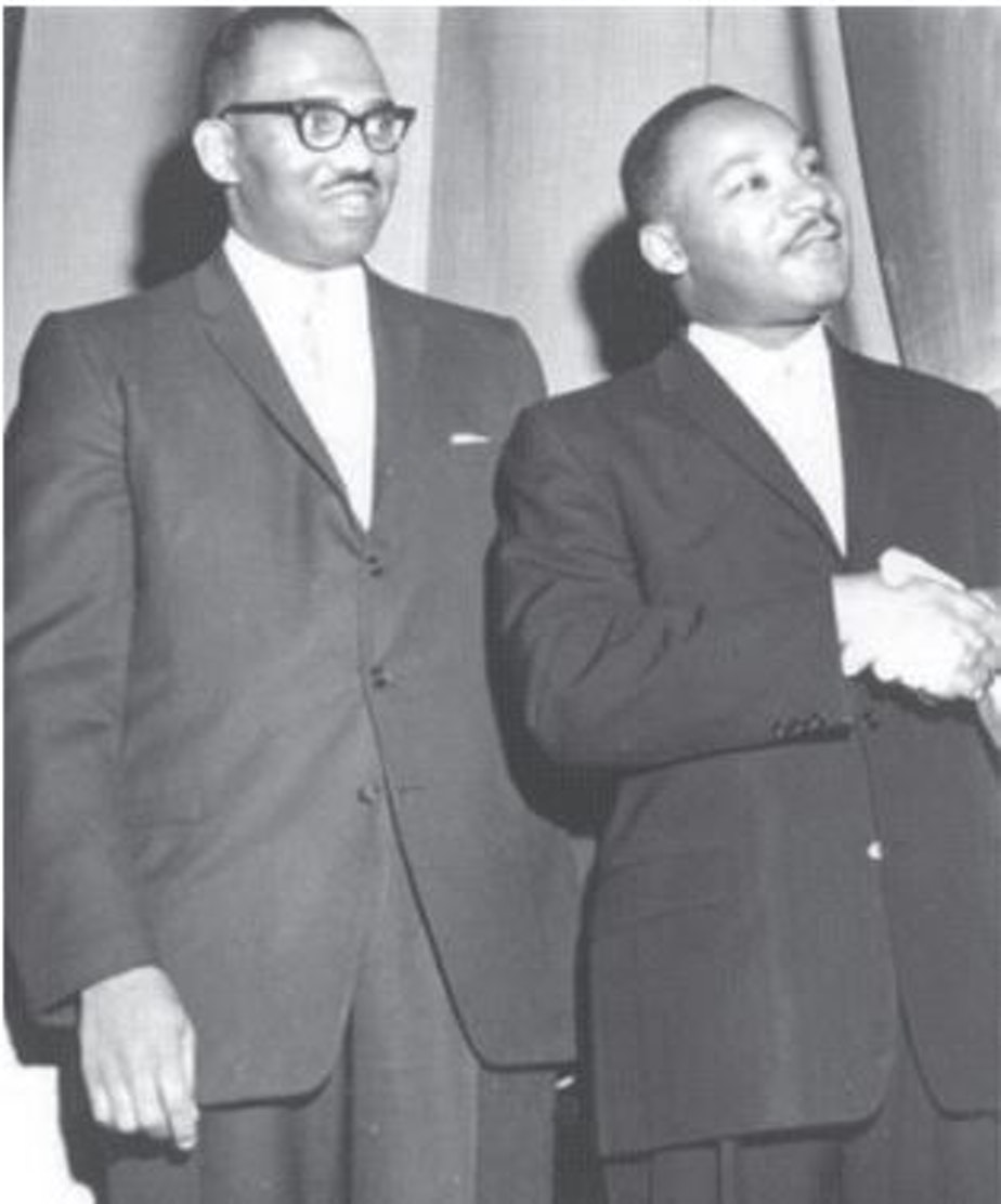 caption: Rev. Samuel B. McKinney, left, with Martin Luther King Jr. McKinney and King were college friends who knew each other from childhood, because their fathers were both pastors who attended the same conferences.