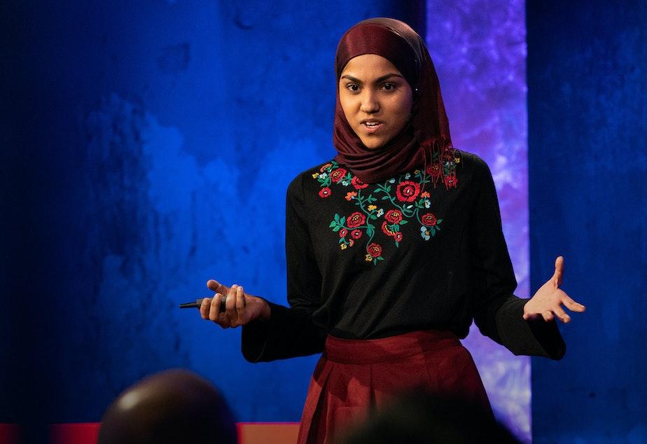 Kashfia Rahman on the TED stage.