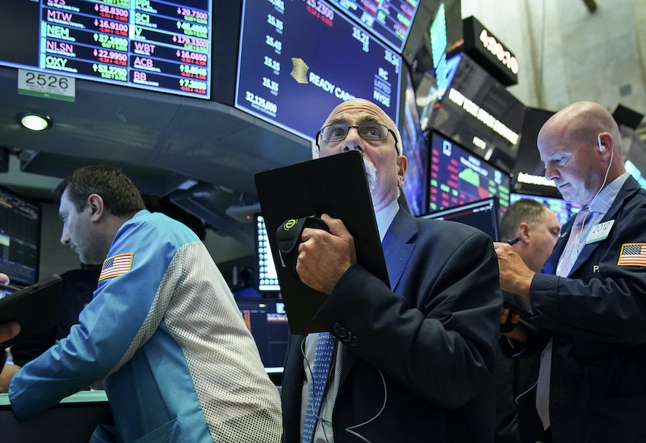 NEW YORK, NY - Traders and financial professionals work ahead of the closing bell on the floor of the New York Stock Exchange (NYSE) on August 1, 2019 in New York City. On Wednesday, the stock market plummeted more than 600 points, over troubling economic data that could signal a global recession.