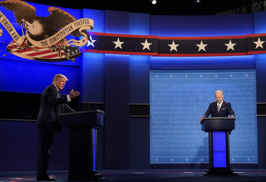 caption: President Trump and Democratic presidential nominee Joe Biden square off during the first presidential debate on Sept. 29.