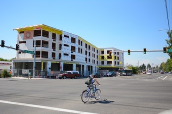 <p>Proponents of the measure held a press conference at the construction site of the Jade/APANO Multicultural Space (JAMS) on SE 81stAvenue. It's a5,000-square-foot community center withsolar panels, the kind of community project proponents say will be supported by the Portland Clean Energy Fund.</p>