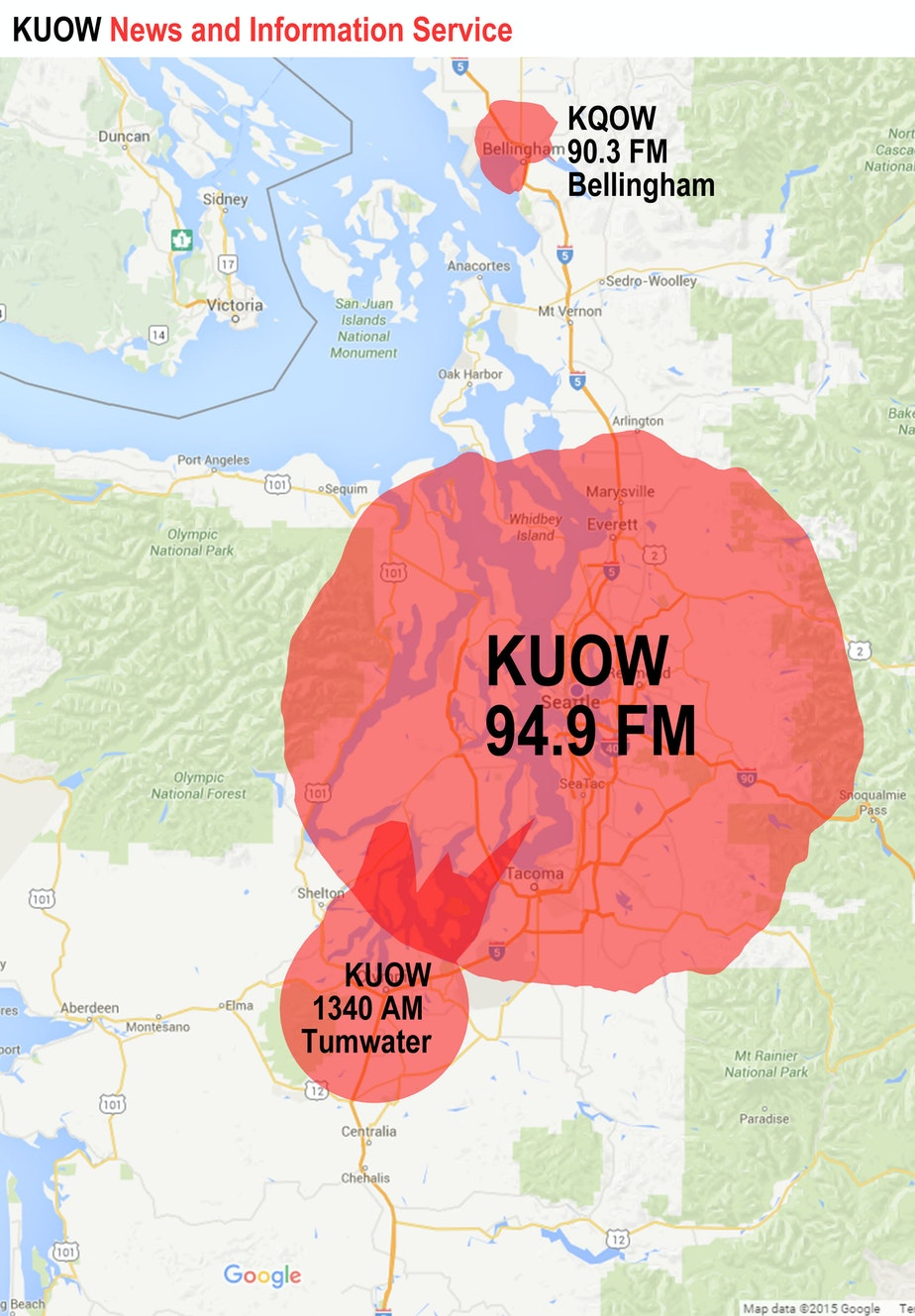 KUOW coverage map