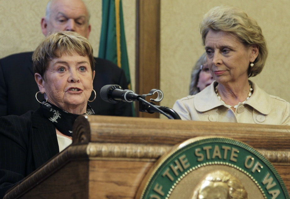 Sharon Foster, with Gov. Gregoire, announcing the ban on alcoholic energy drinks in Washington in 2010.