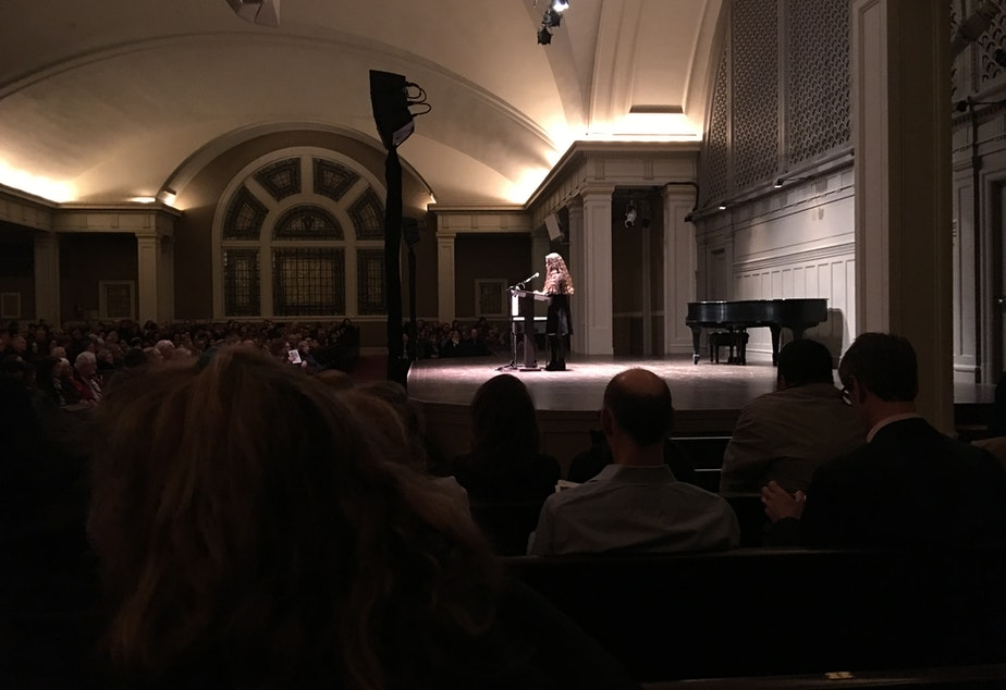 caption: Writer Kristen Millares Young on stage at Town Hall Seattle