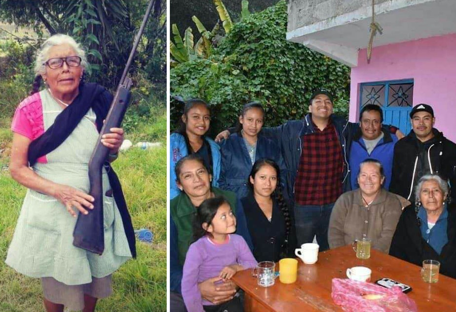 caption: Left: Serapia Hernández Vargas poses wearing an apron and holding a gun. Right: Luis Hernandez Vargas (center) smiles with his great-grandma, Serapia Hernández Vargas (bottom right), and eight other members of their family in Mexico.