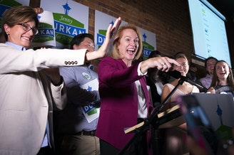 """Jenny Durkan celebrated her lead in the first ballot count: """"I feel great about where we are."""""""