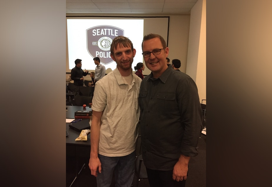 Timothy Clemans (left) and Seattle Police COO Mike Wagers at the hackathon, Friday, December 19, 2014.