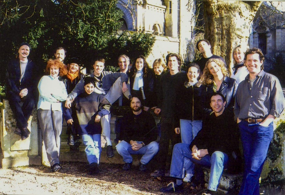 Members of the Ardeo Theatre Project outside their chateau near Poitiers, France in 2001.