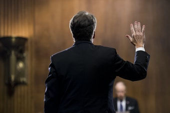 Supreme Court nominee Judge Brett Kavanaugh is sworn in before testifying during the Senate Judiciary Committee, Thursday, Sept. 27, 2018 on Capitol Hill in Washington.