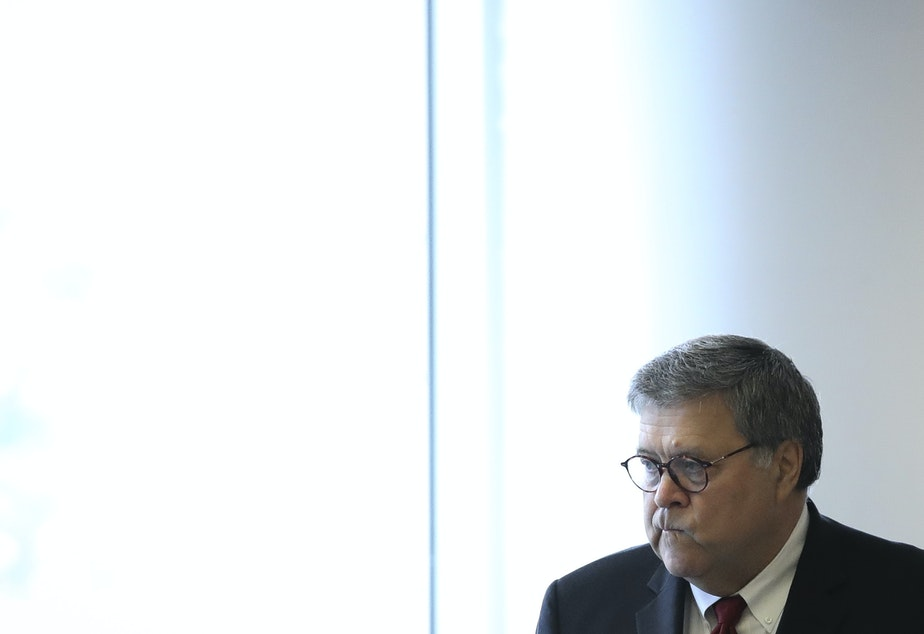 caption: U.S. Attorney General William Barr declared in July that the Justice Department intended to resume carrying out the death penalty — though those plans are on hold after a federal court decision Wednesday.