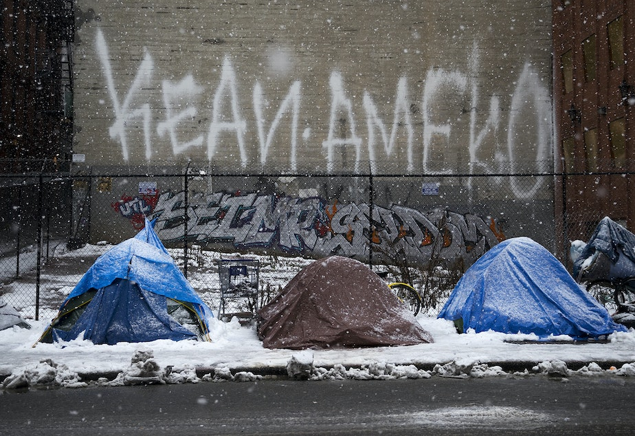 Tents are blanketed in snow on South Washington Street in the Pioneer Square neighborhood of Seattle on Monday, February 11, 2019
