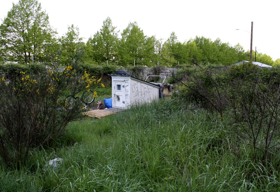 A tiny house near I-5 is part of the 3 mile homeless encampment known as the Jungle.