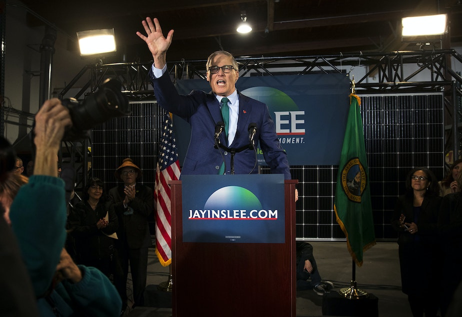 caption: Governor Jay Inslee waves to a crowd after speaking about his candidacy for President on Friday, March 1, 2019, at A&R Solar on Martin Luther King Jr. Way in Seattle. Tap or click on the first image to see more.
