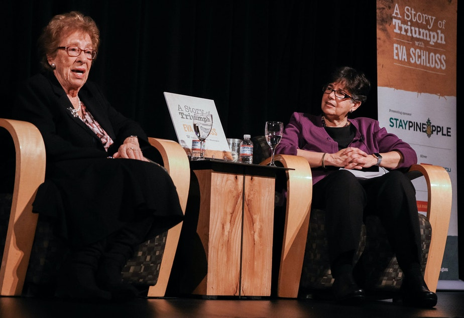 caption: Eva Schloss and Ana Mari Cauce