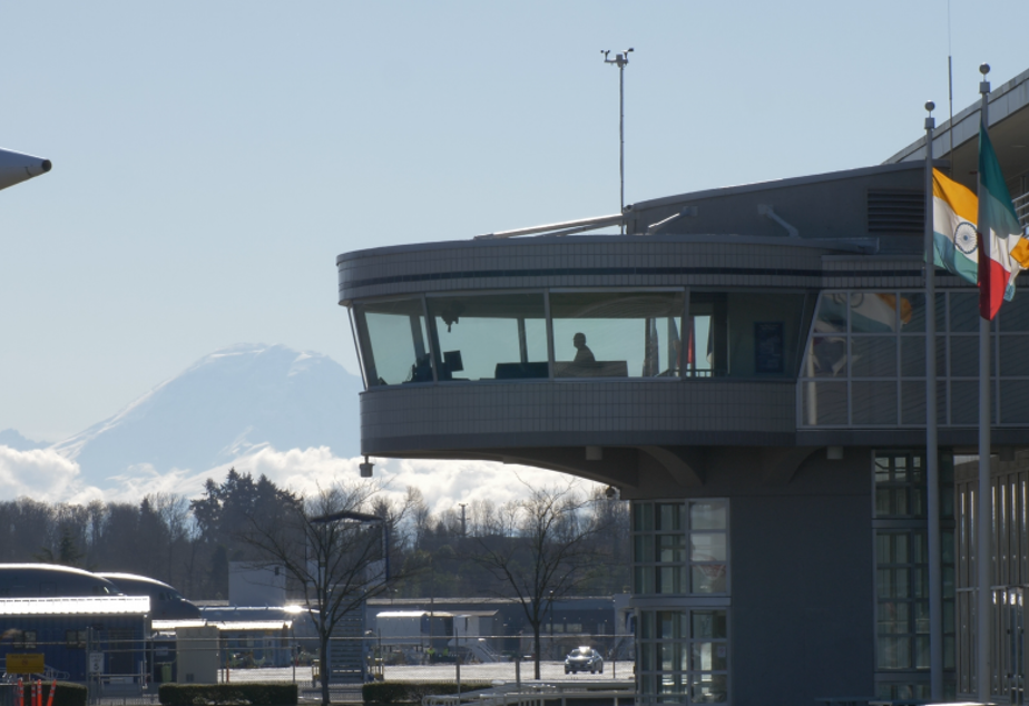 A view of Mount Rainier from Boeing Field in south Seattle.