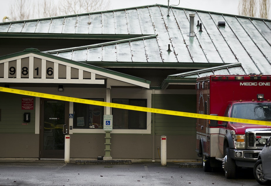 caption: Kirkland Fire Station 21 is taped off after first responders, including 25 Kirkland fire fighters and two Kirkland police officers, were put under quarantine after responding to the Life Care Center of Kirkland, the long-term care facility at the epicenter of the coronavirus outbreak in Washington state, on Forbes Creek Drive in Kirkland.