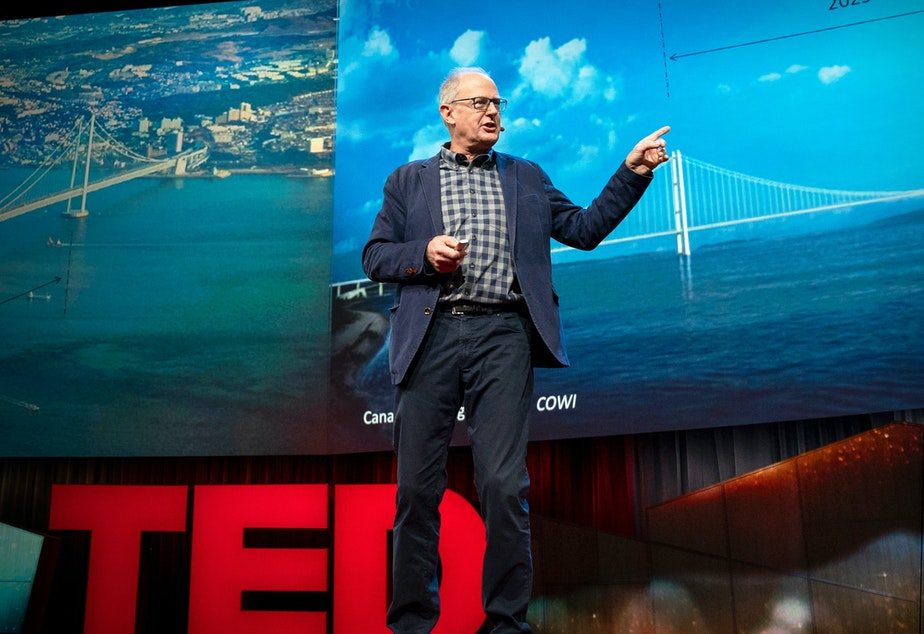 caption: Ian Firth on the TED stage.