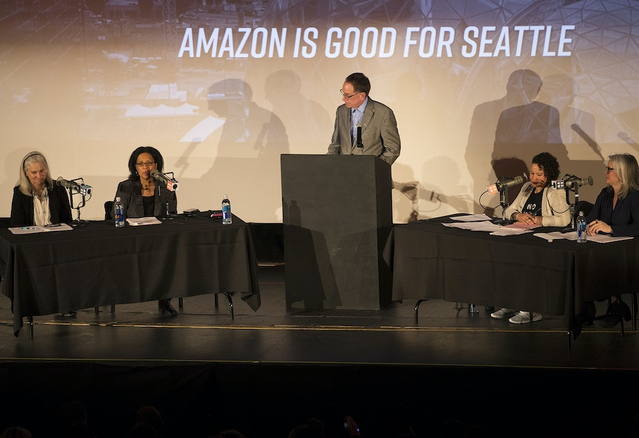 KUOW hosts 'That's Debatable: Amazon is Good for Seattle' on Wednesday, March 7, 2018, in Seattle.