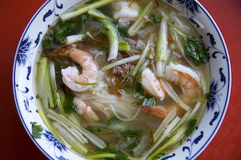 Pho with cilantro, onion, green onion, prawns, noodles, fried shallots and beef broth. Tap to see more photos.