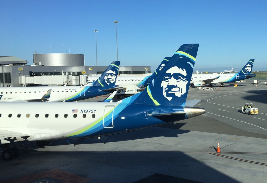 Alaska Airlines jets at San Francisco International Airport
