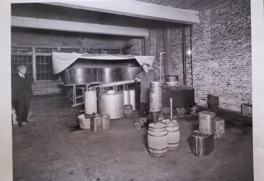 Prohibition agents seized and destroyed 350 gallons of moonshine on February 24th, 1925 at 1115 East Pike Street in Seattle.
